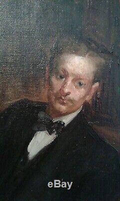 Tableau ancien huile sur toile portrait homme élégant. École francaise
