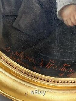 Tableau ancien huile sur toile portrait signé et daté 1866 French Painting HST