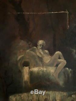 Tableau ancien huile sur toile scène hivernale patineurs patinage XIXème 19ème