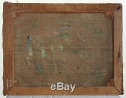 Tableau ancien huile sur toile signé, paysage provençale, garrigue années 40 50