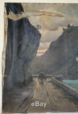 Tableau ancien huile sur toile signée paysage montagne fort Savoie 19ème siècle