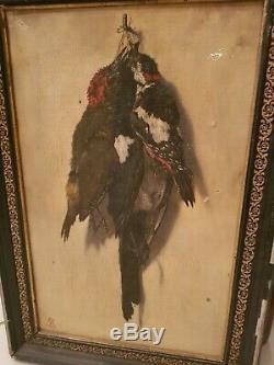 Tableau ancien huile sur toile, trophée de chasse fin XIX ème s