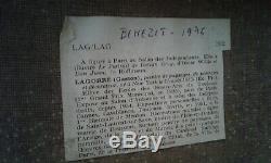 Tableau ancien huile sur toile vue petit village des Pyrénées Gaston Lagorre