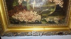 Tableau ancien huile sur toile xIx ème nature morte fleurs signé