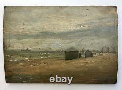 Tableau ancien monogrammé et daté, Huile sur panneau, Plage, Dunkerque, XXe