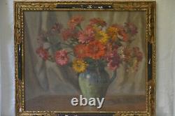 Tableau ancien nature morte bouquet de fleurs huile sur toile Louis Adami