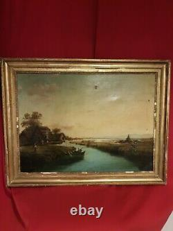 Tableau ancien, pêcheurs, huile sur toile, cadre doré, signée à déchiffrer