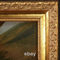 Tableau ancien peinture huile sur toile Diane avec les nymphes 800 19ème siècle