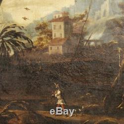 Tableau ancien peinture huile sur toile cadre paysage personnages italien 700