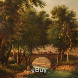 Tableau ancien peinture paysage romantique huile sur toile avec cadre art 800