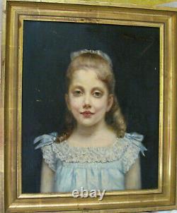 Tableau ancien portrait Enfant Fillette Robe bleue Huile sur Toile XIXe Signé