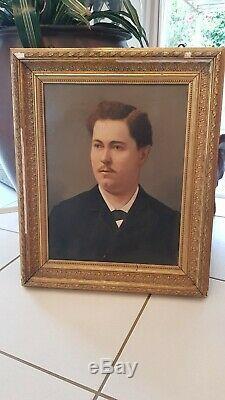 Tableau ancien, portrait d'homme, fin XIX ème s, huile sur toile