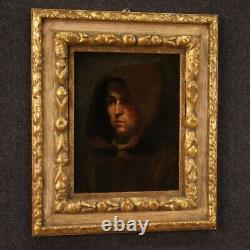 Tableau ancien portrait de moine peinture religieuse huile sur toile 700