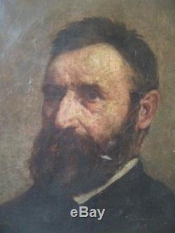 Tableau ancien portrait homme huile sur toile 19e s old oil painting man