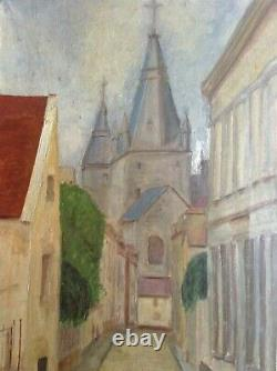 Tableau ancien proche Elisée MACLET Paysage à l'église Grande Huile sur Toile