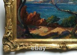 Tableau ancien signé A. Meley, Huile sur toile, Méditerranée, Esterel Début XXe