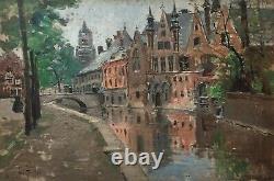 Tableau ancien signé Abel Truchet, Huile sur panneau, Bruges, Belgique, XIXe