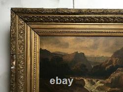 Tableau ancien signé Boulanger, Huile sur panneau, Montagne, Encadré, XIXe