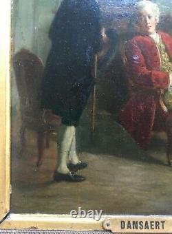 Tableau ancien signé Dansaert, Huile sur panneau, Scène d'intérieur, Cadre, XIXe