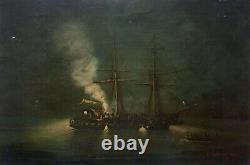 Tableau ancien signé, Daté 1872, Huile sur toile, Marine, Bataille navale, XIXe