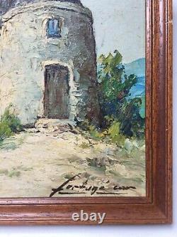 Tableau ancien signé Fortuné Car, Huile sur panneau, Moulin, Encadré, XXe