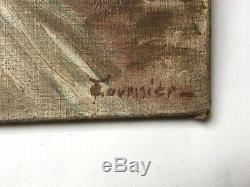 Tableau ancien signé Fournier, Huile sur toile, Paysage enneigé, Début XXe