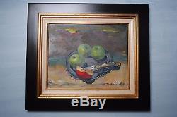 Tableau ancien signé Gérard BOULFRAY Nature Morte aux Pommes Huile sur Toile