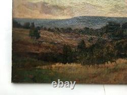 Tableau ancien signé H. Havet, Huile sur toile, Paysage, Fin XIXe