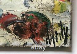 Tableau ancien signé Henry d'Anty, Bouquet De Fleurs, Huile sur toile, XXe