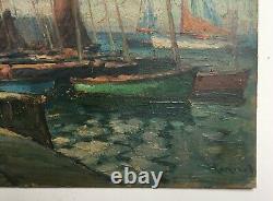 Tableau ancien signé, Huile sur carton, Bretagne, Bateaux au port, Début XXe
