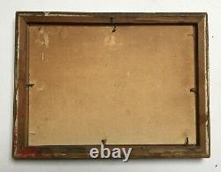 Tableau ancien signé, Huile sur carton, Marine, Vue de port, Début XXe