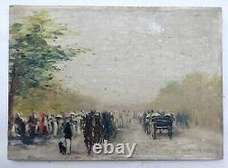 Tableau ancien signé, Huile sur panneau, Equipage au bois de Boulogne, Fin XIXe
