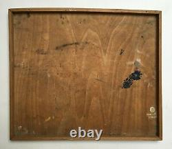 Tableau ancien signé, Huile sur panneau, Scène de maison close, XXe