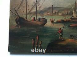 Tableau ancien signé, Huile sur panneau, Ville portuaire animée, XIXe