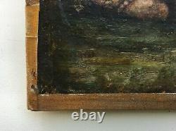 Tableau ancien signé, Huile sur toile, Angelots, Anges, Putti et lionceau, XIXe