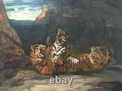 Tableau ancien signé, Huile sur toile, Jeu de tigres, XIXe