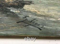 Tableau ancien signé, Huile sur toile, Marine, Pêcheurs en mer, Bateau, XIXe