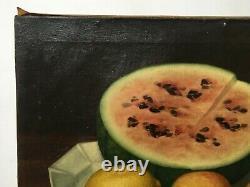 Tableau ancien signé, Huile sur toile, Nature morte à la pastèque, XIXe