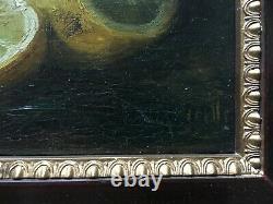 Tableau ancien signé, Huile sur toile, Nature morte aux crevettes, Encadré, XXe