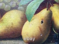 Tableau ancien signé, Huile sur toile, Nature morte aux fruits, Fin XIXe