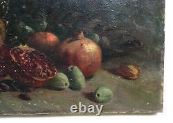 Tableau ancien signé, Huile sur toile, Nature morte aux grenades et dattes, XIXe