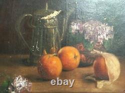 Tableau ancien signé, Huile sur toile, Nature morte aux oranges, XIXe