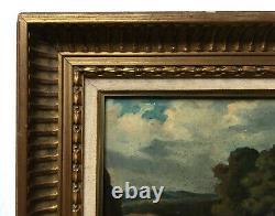 Tableau ancien signé, Huile sur toile, Paysage à la cascade, Encadré, Début XXe