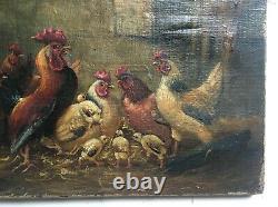Tableau ancien signé, Huile sur toile, Poulailler, XIXe