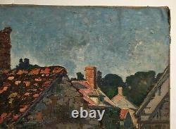 Tableau ancien signé, Huile sur toile, Village, Début XXe