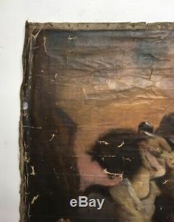Tableau ancien signé, Huile sur toile à restaurer, Ecole Symboliste, XIXe