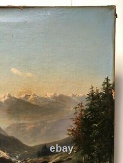 Tableau ancien signé, Huile sur toile à restaurer, Torrent de montagne, XIXe