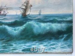 Tableau ancien signé Kolliker Huile sur toile, Marine, Bateaux, Début XXe