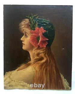 Tableau ancien signé, Portrait de femme, Huile sur toile marouflée, Début XXe