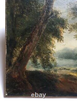 Tableau ancien signé R. Westall, Huile sur toile, Paysage, Chemin boisé, XIXe